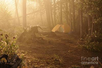 Foggy Morning At The Campsite Poster by Larry Ricker