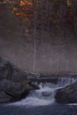 Poster featuring the photograph Foggy Morning At Linville Falls by Ellen Heaverlo