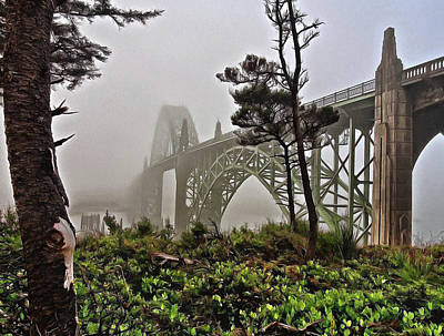 Poster featuring the photograph A Foggy Morning On Yaquina Bay by Thom Zehrfeld
