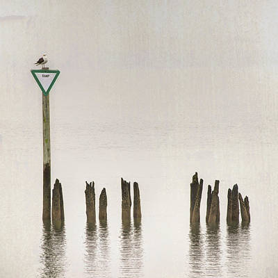 Poster featuring the photograph Foggy Morning Texture Keyport Harbor by Gary Slawsky