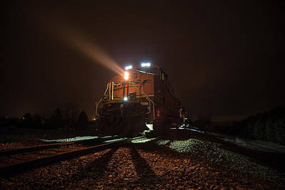 Poster featuring the photograph Foggy Night Train  by Aaron J Groen