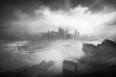 Poster featuring the photograph Foggy Pittsburgh  by Emmanuel Panagiotakis