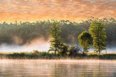 Foggy River Sunrise At Boy Lake Poster by Patti Deters