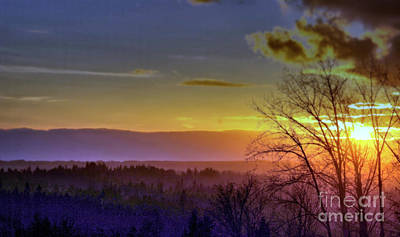 Foggy Sunset Poster by Victor K