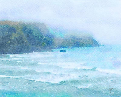 Poster featuring the painting Foggy Surf by Angela Treat Lyon