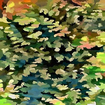 Foliage Abstract In Green, Peach And Phthalo Blue Poster