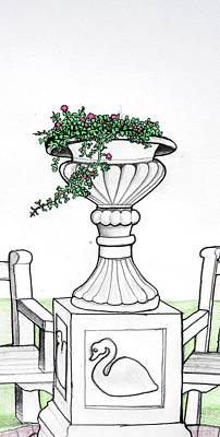 Poster featuring the drawing Foliage Fountain by Mary Ellen Frazee