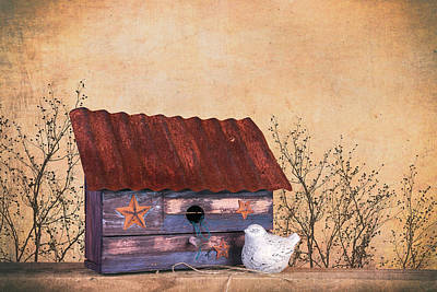 Folk Art Birdhouse Still Life Poster
