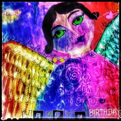 Folk Art Happy Birthday Angel Poster