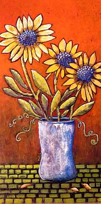 Folk Art Sunflowers Poster by Suzanne Theis