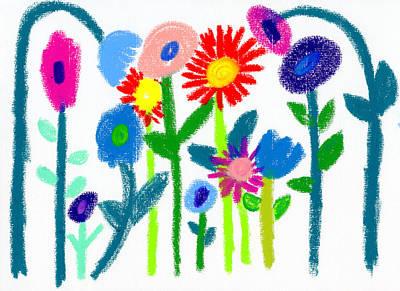 Poster featuring the pastel Folk Garden by Bee-Bee Deigner