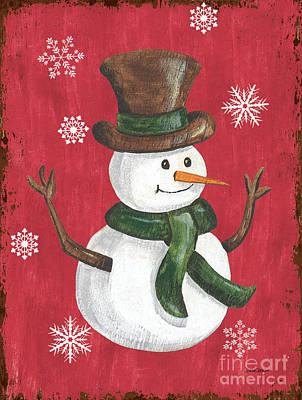 Folk Snowman Poster
