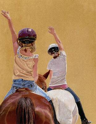 Follow The Leader - Horseback Riding Lesson Painting Poster