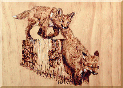 Poster featuring the pyrography Follow The Leader by Ron Haist