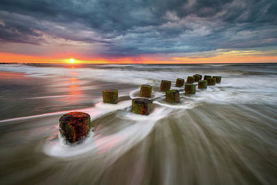Folly Beach Charleston Sc South Carolina Sunrise Seascape Poster