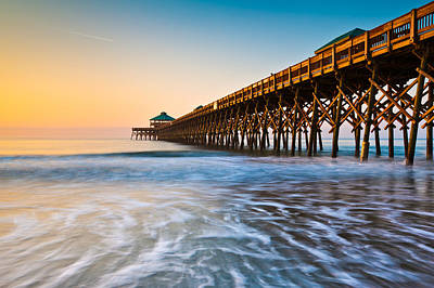 Folly Beach Pier Charleston Sc Coast Atlantic Ocean Pastel Sunrise Poster by Dave Allen