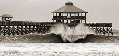 Folly Beach Pier Hurricane Irene 2011 Poster