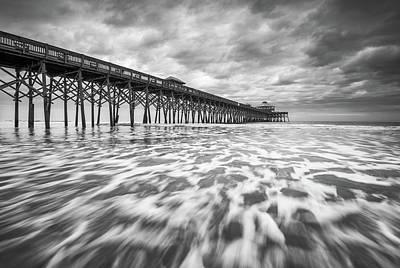 Folly Beach Pier Sc Scenic Seascape Photography Poster