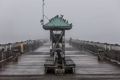 Folly Pier On Foggy Day Poster by John McGraw