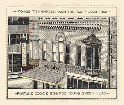 Poster featuring the drawing Fongs Tea Garden by Chholing Taha