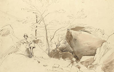 Fontainebleau, Figure Leaning Against A Rock Poster