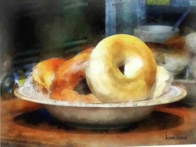 Food - Bagels For Sale Poster by Susan Savad