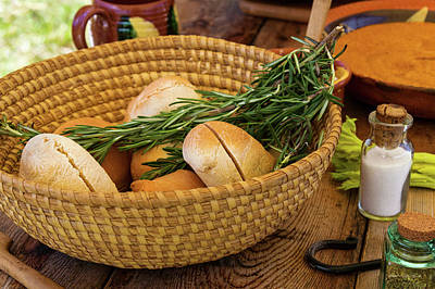 Food - Bread - Rolls And Rosemary Poster by Mike Savad