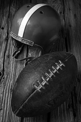 Football And Helmet In Black And White Poster