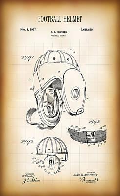 Football Helmet Patent 1927 Poster by Daniel Hagerman