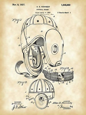 Football Helmet Patent 1927 - Vintage Poster by Stephen Younts
