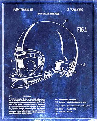 Football Helmet Patent Blueprint Drawing Poster