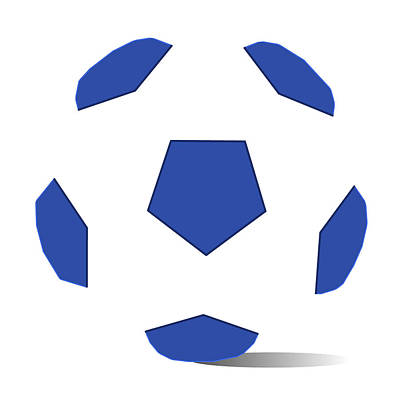 Football Image In Dazzling Blue And White Space Poster