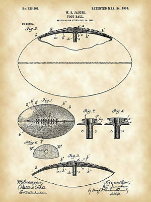 Football Patent 1902 - Vintage Poster by Stephen Younts