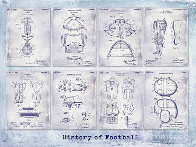 Football Patent History Blueprint Poster by Jon Neidert