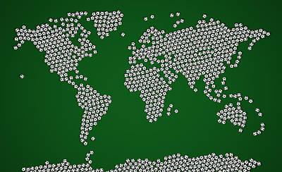 Football Soccer Balls World Map Poster by Michael Tompsett