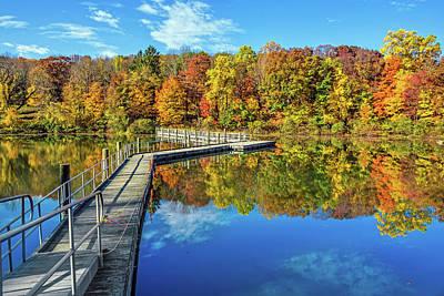 Footbridge Across Lake Poster