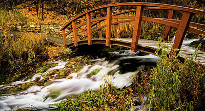 Footbridge At Cascade Springs Poster by TL Mair