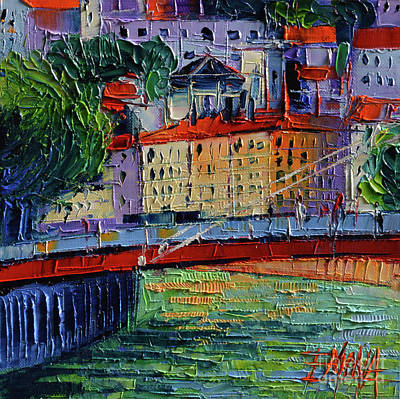 Footbridge On The Saone River Poster by Mona Edulesco