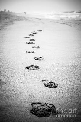 Footprints In The Sand Picture In Black And White  Poster