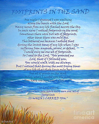 Footprints In The Sand Poster by Shelia Kempf