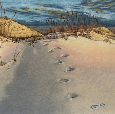 Footprints In The Snowy Dunes Poster