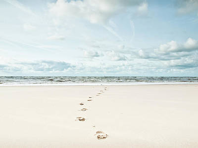 Footprints Leading Into Sea Poster by Dune Prints by Peter Holloway