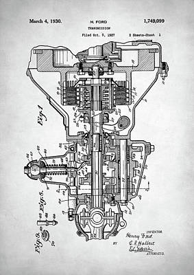 Ford Engine Patent Poster
