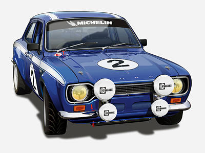 Ford Escort Rs 2000 Illustration Poster