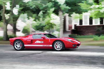 Poster featuring the photograph Ford Gt Entering Lake Mills by Joel Witmeyer