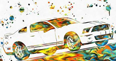Ford Mustang Paint Splatter Poster by Dan Sproul