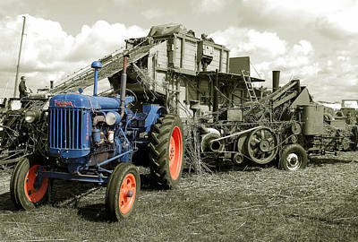 Fordson And The Threshing Machine Poster by Rob Hawkins