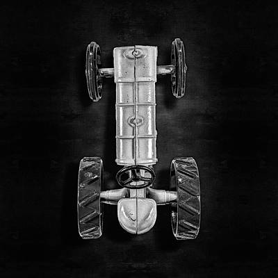 Poster featuring the photograph Fordson Tractor Top Bw by YoPedro
