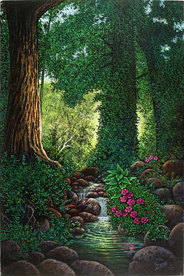 Poster featuring the painting Forest Brook II by Michael Frank