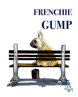 Forest Gump French Bulldog Caricature Art Print Poster